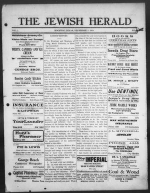 Primary view of object titled 'The Jewish Herald (Houston, Tex.), Vol. 1, No. 11, Ed. 1, Thursday, December 3, 1908'.