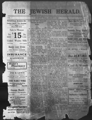 Primary view of The Jewish Herald (Houston, Tex.), Vol. 1, No. 16, Ed. 1, Thursday, January 7, 1909