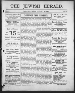 Primary view of object titled 'The Jewish Herald (Houston, Tex.), Vol. 1, No. 19, Ed. 1, Thursday, January 28, 1909'.