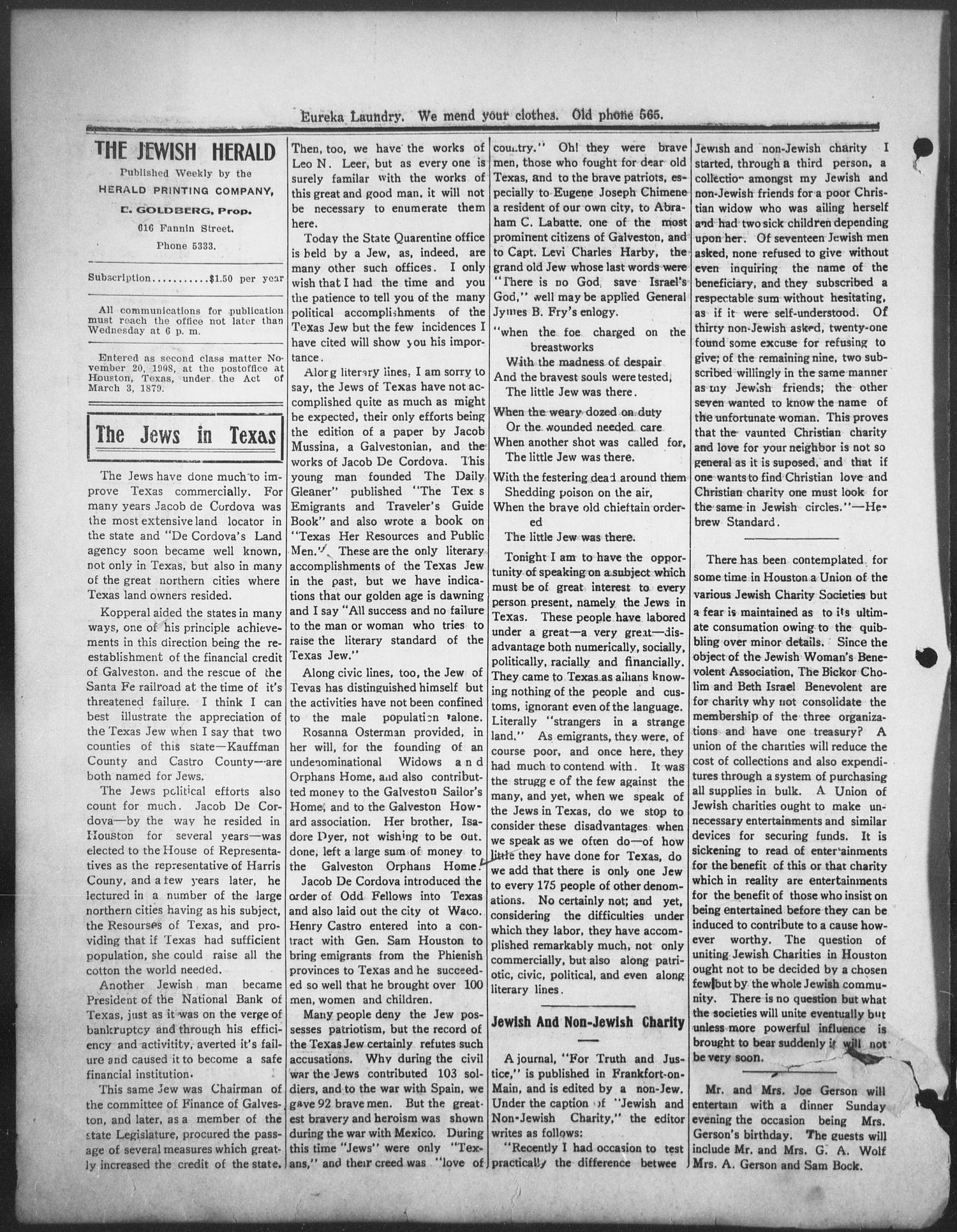 The Jewish Herald (Houston, Tex.), Vol. 1, No. 21, Ed. 1, Friday, February 12, 1909                                                                                                      [Sequence #]: 4 of 8
