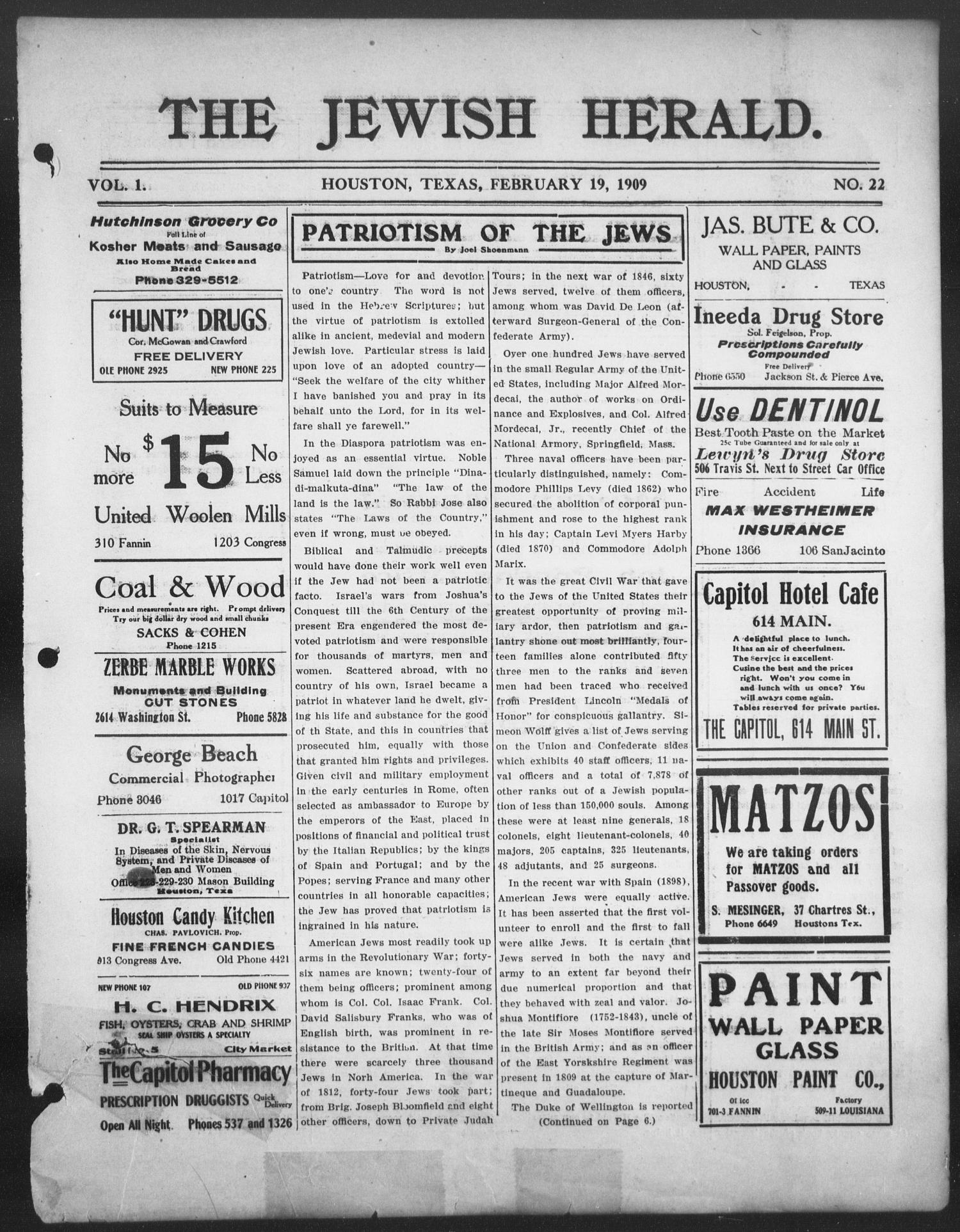 The Jewish Herald (Houston, Tex.), Vol. 1, No. 22, Ed. 1, Friday, February 19, 1909                                                                                                      [Sequence #]: 1 of 8