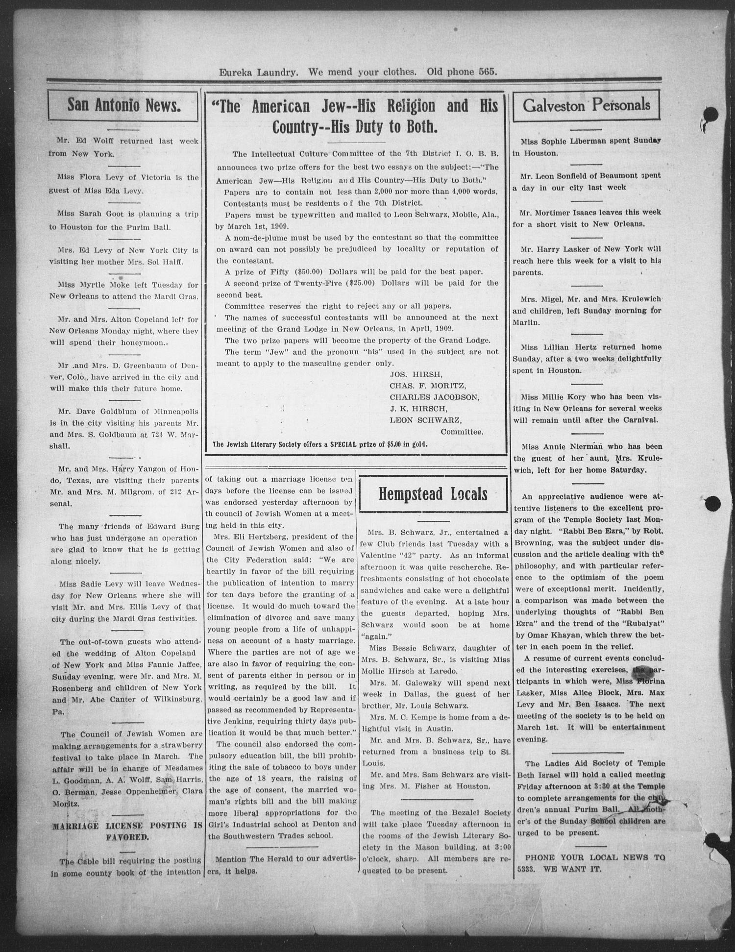 The Jewish Herald (Houston, Tex.), Vol. 1, No. 22, Ed. 1, Friday, February 19, 1909                                                                                                      [Sequence #]: 2 of 8
