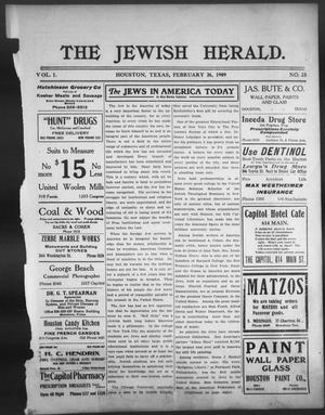 The Jewish Herald (Houston, Tex.), Vol. 1, No. 23, Ed. 1, Friday, February 26, 1909