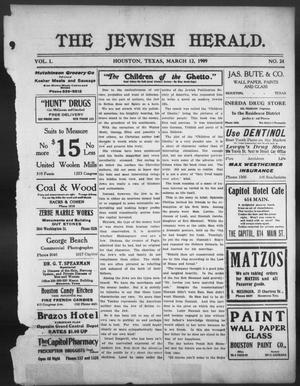 Primary view of object titled 'The Jewish Herald (Houston, Tex.), Vol. 1, No. 24, Ed. 1, Friday, March 12, 1909'.