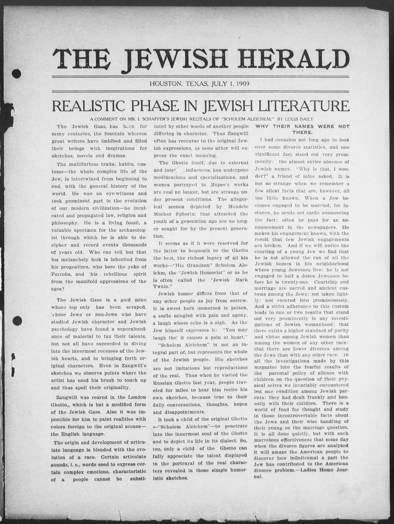 The Jewish Herald (Houston, Tex.), Vol. 1, No. 40, Ed. 1, Thursday, July 1, 1909                                                                                                      [Sequence #]: 3 of 10