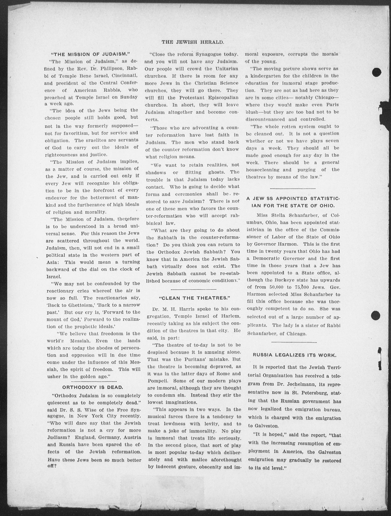 The Jewish Herald (Houston, Tex.), Vol. 1, No. 40, Ed. 1, Thursday, July 1, 1909                                                                                                      [Sequence #]: 4 of 10