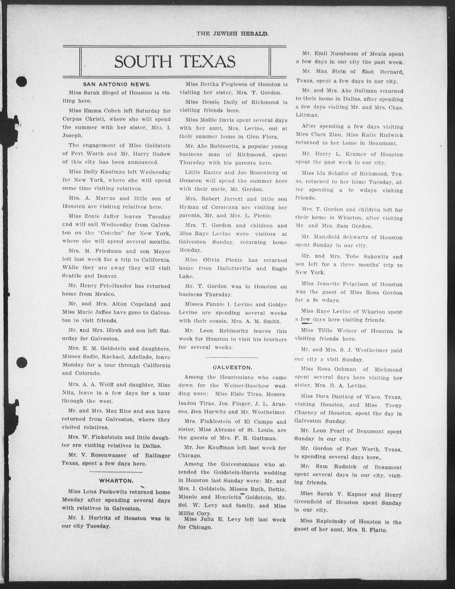 The Jewish Herald (Houston, Tex.), Vol. 1, No. 40, Ed. 1, Thursday, July 1, 1909                                                                                                      [Sequence #]: 5 of 10
