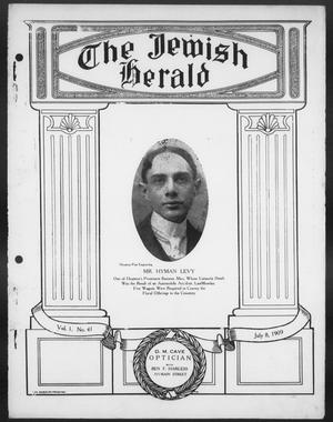 Primary view of object titled 'The Jewish Herald (Houston, Tex.), Vol. 1, No. 41, Ed. 1, Thursday, July 8, 1909'.
