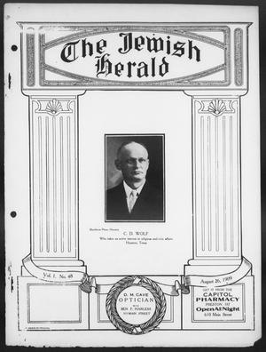 Primary view of object titled 'The Jewish Herald (Houston, Tex.), Vol. 1, No. 48, Ed. 1, Thursday, August 26, 1909'.