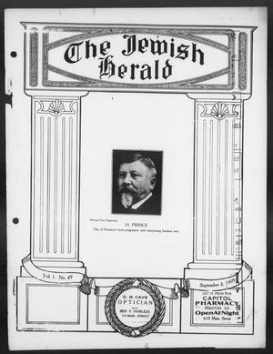 Primary view of object titled 'The Jewish Herald (Houston, Tex.), Vol. 1, No. 49, Ed. 1, Thursday, September 2, 1909'.