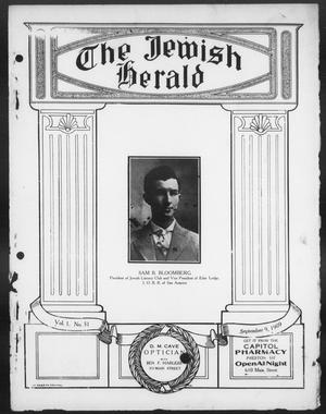 Primary view of object titled 'The Jewish Herald (Houston, Tex.), Vol. 1, No. 51, Ed. 1, Thursday, September 9, 1909'.