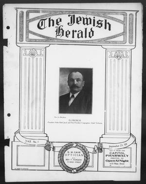 Primary view of object titled 'The Jewish Herald (Houston, Tex.), Vol. 2, No. 1, Ed. 1, Thursday, September 23, 1909'.