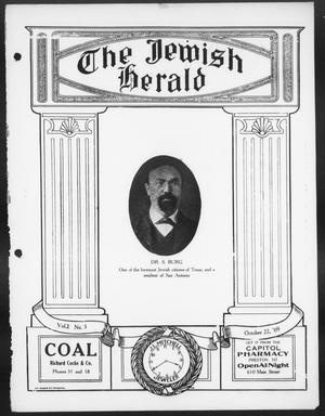 Primary view of object titled 'The Jewish Herald (Houston, Tex.), Vol. 2, No. 5, Ed. 1, Friday, October 22, 1909'.