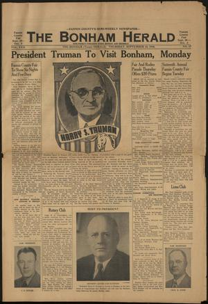 The Bonham Herald (Bonham, Tex.), Vol. 22, No. 17, Ed. 1 Thursday, September 23, 1948