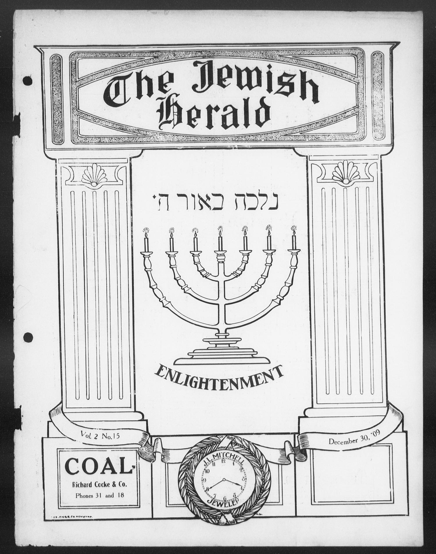 The Jewish Herald (Houston, Tex.), Vol. 2, No. 15, Ed. 1, Thursday, December 30, 1909                                                                                                      [Sequence #]: 1 of 28