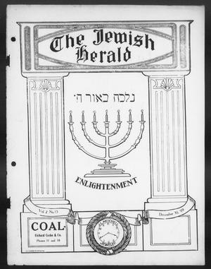 Primary view of object titled 'The Jewish Herald (Houston, Tex.), Vol. 2, No. 15, Ed. 1, Thursday, December 30, 1909'.