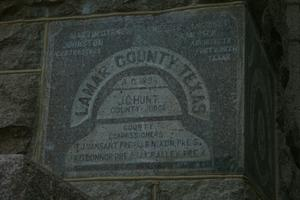 Primary view of object titled 'Lamar County Courthouse  1896 Cornerstone'.