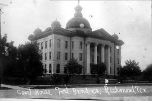 Primary view of object titled '[The northwest corner of the Fort Bend County Court House]'.