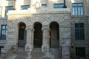 Primary view of object titled 'Lamar County Courthouse Entrance'.