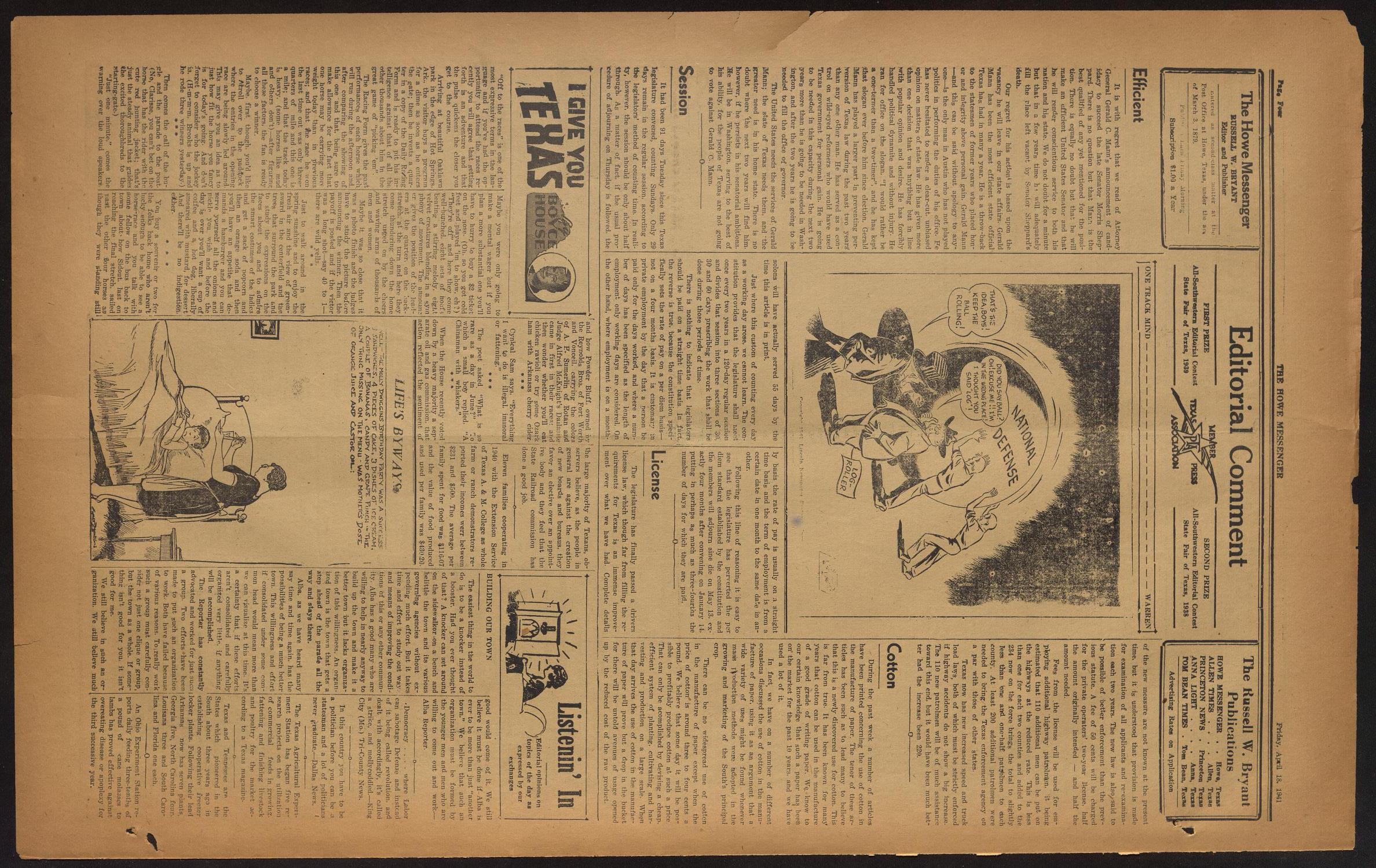 The Howe Messenger (Howe, Tex.), Vol. 18, No. 13, Ed. 1 Friday, April 18, 1941                                                                                                      [Sequence #]: 4 of 8