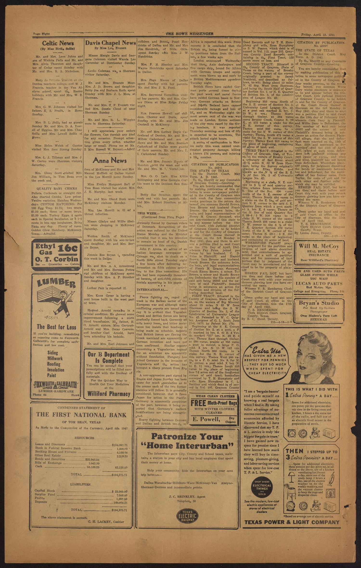 The Howe Messenger (Howe, Tex.), Vol. 18, No. 13, Ed. 1 Friday, April 18, 1941                                                                                                      [Sequence #]: 8 of 8