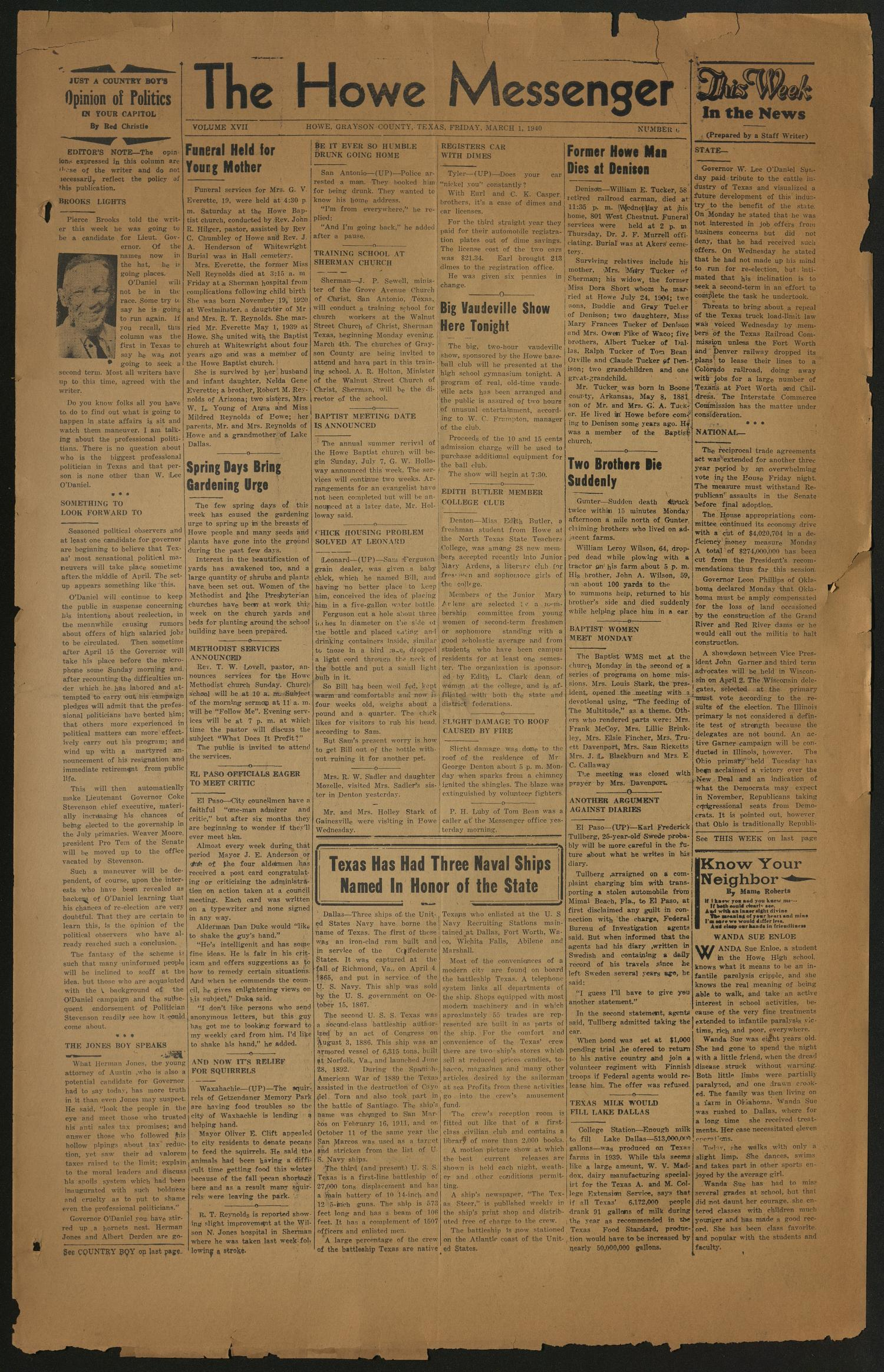 format letter of resignation as employee%0A The Howe Messenger  Howe  Tex    Vol      No     Ed    Friday  March           Page   of    The Portal to Texas History