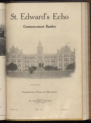 Primary view of object titled 'St. Edward's Echo (Austin, Tex.), Vol. 2, No. 7, Ed. 1, May 1921'.