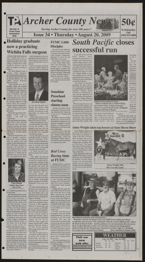 Primary view of object titled 'Archer County News (Archer City, Tex.), No. 34, Ed. 1 Thursday, August 20, 2009'.