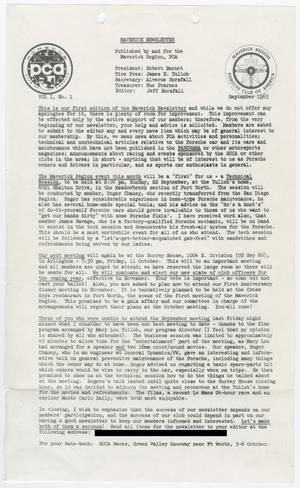 Primary view of object titled 'The Maverick Newsletter, Volume 1, Issue 1, September 1963'.