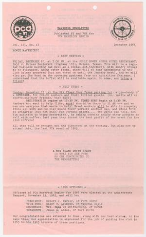 Primary view of object titled 'The Maverick Newsletter, Volume 3, Issue 12, December 1965'.