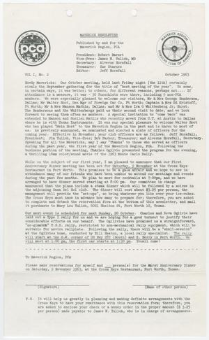 Primary view of object titled 'The Maverick Newsletter, Volume 1, Issue 2, October 1963'.