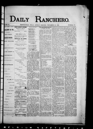 Primary view of object titled 'Daily Ranchero. (Brownsville, Tex.), Vol. 2, No. 77, Ed. 1 Sunday, November 25, 1866'.