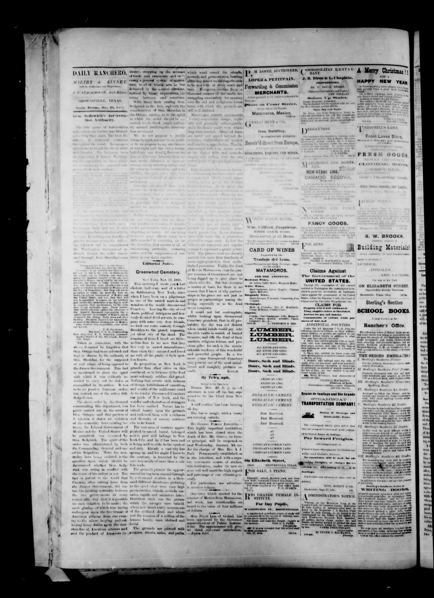 Daily Ranchero. (Brownsville, Tex.), Vol. 2, No. 105, Ed. 1 Sunday, December 30, 1866                                                                                                      [Sequence #]: 2 of 4