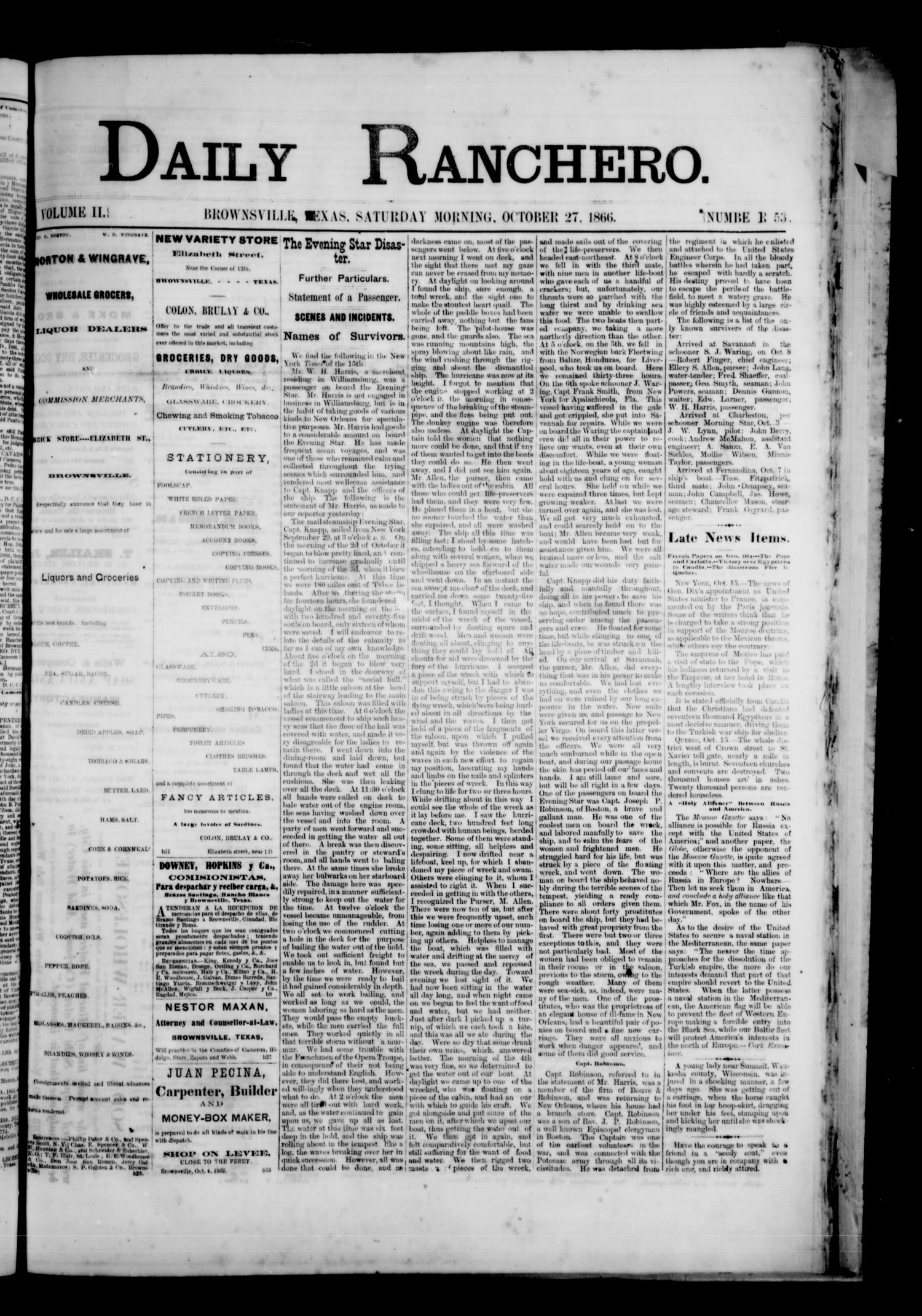 Daily Ranchero. (Brownsville, Tex.), Vol. 2, No. 53, Ed. 1 Saturday, October 27, 1866                                                                                                      [Sequence #]: 1 of 4