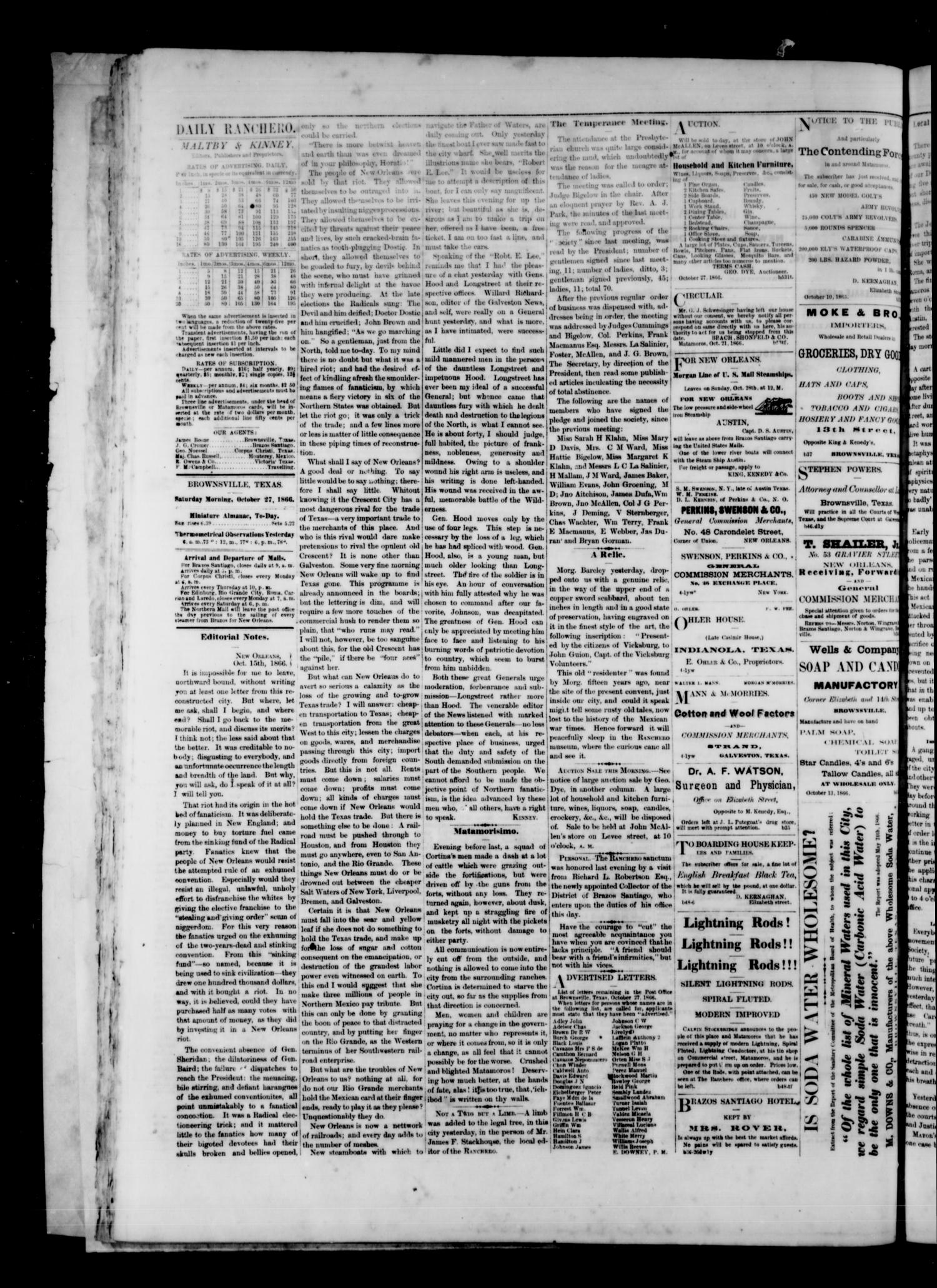 Daily Ranchero. (Brownsville, Tex.), Vol. 2, No. 53, Ed. 1 Saturday, October 27, 1866                                                                                                      [Sequence #]: 2 of 4