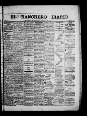 Primary view of object titled 'The Daily Ranchero. (Matamoros, Mexico), Vol. 1, No. 213, Ed. 1 Tuesday, January 30, 1866'.