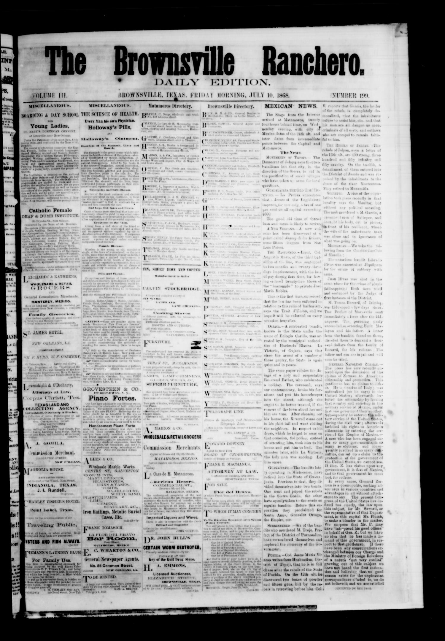 The Brownsville Ranchero. (Brownsville, Tex.), Vol. 3, No. 199, Ed. 1 Friday, July 10, 1868                                                                                                      [Sequence #]: 1 of 4