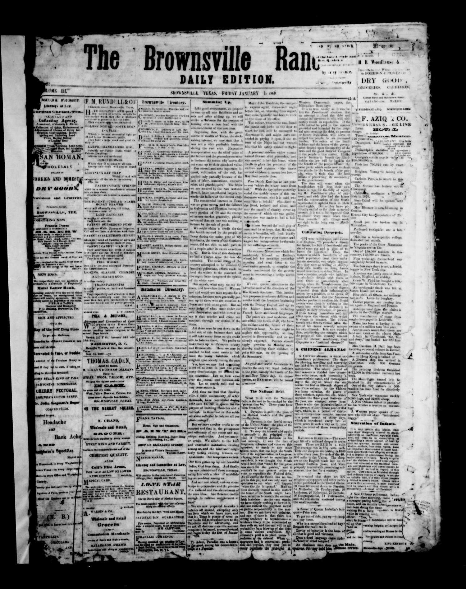 The Brownsville Ranchero. (Brownsville, Tex.), Vol. 3, No. [270], Ed. 1 Friday, January 1, 1869                                                                                                      [Sequence #]: 1 of 4