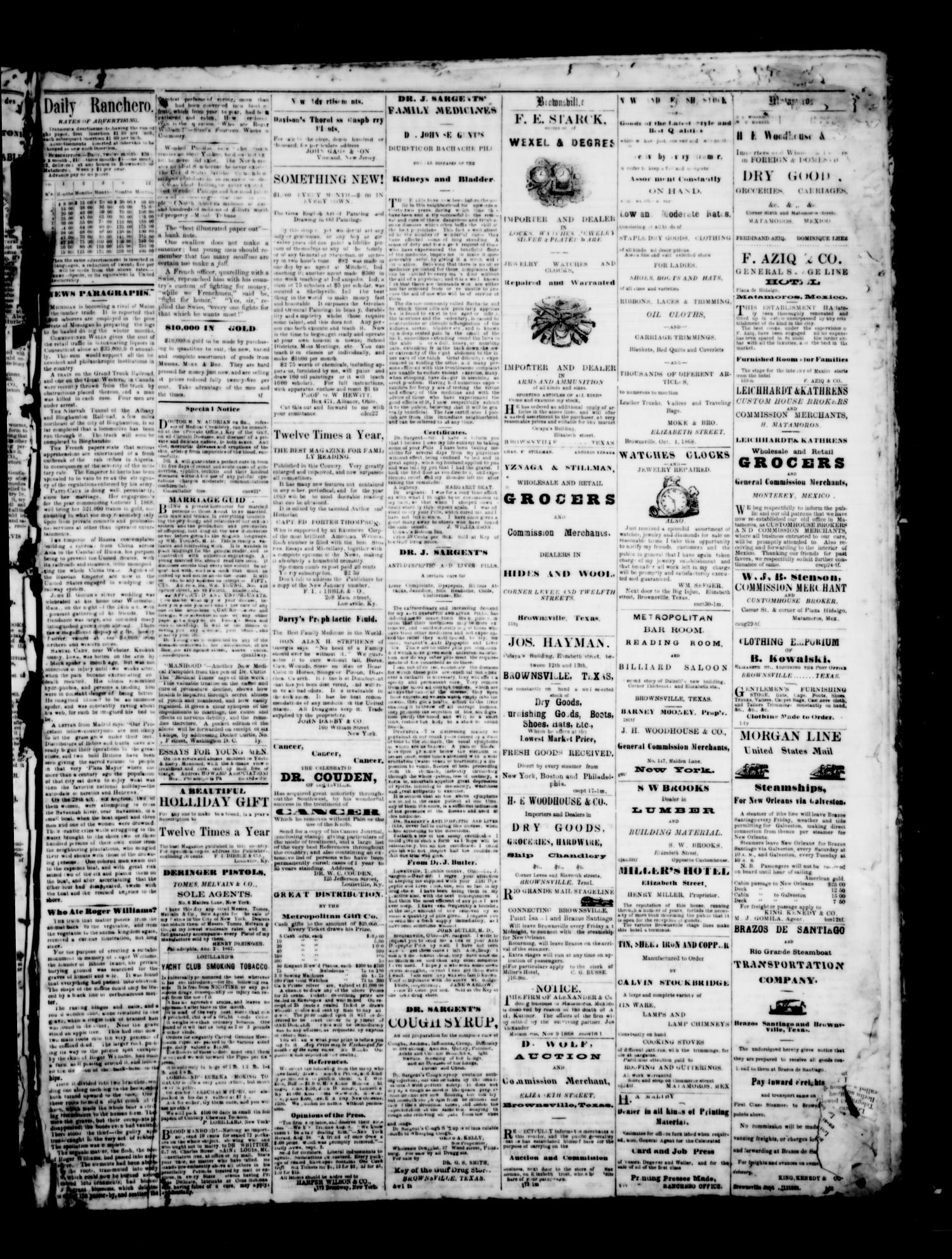 The Brownsville Ranchero. (Brownsville, Tex.), Vol. 3, No. [270], Ed. 1 Friday, January 1, 1869                                                                                                      [Sequence #]: 3 of 4