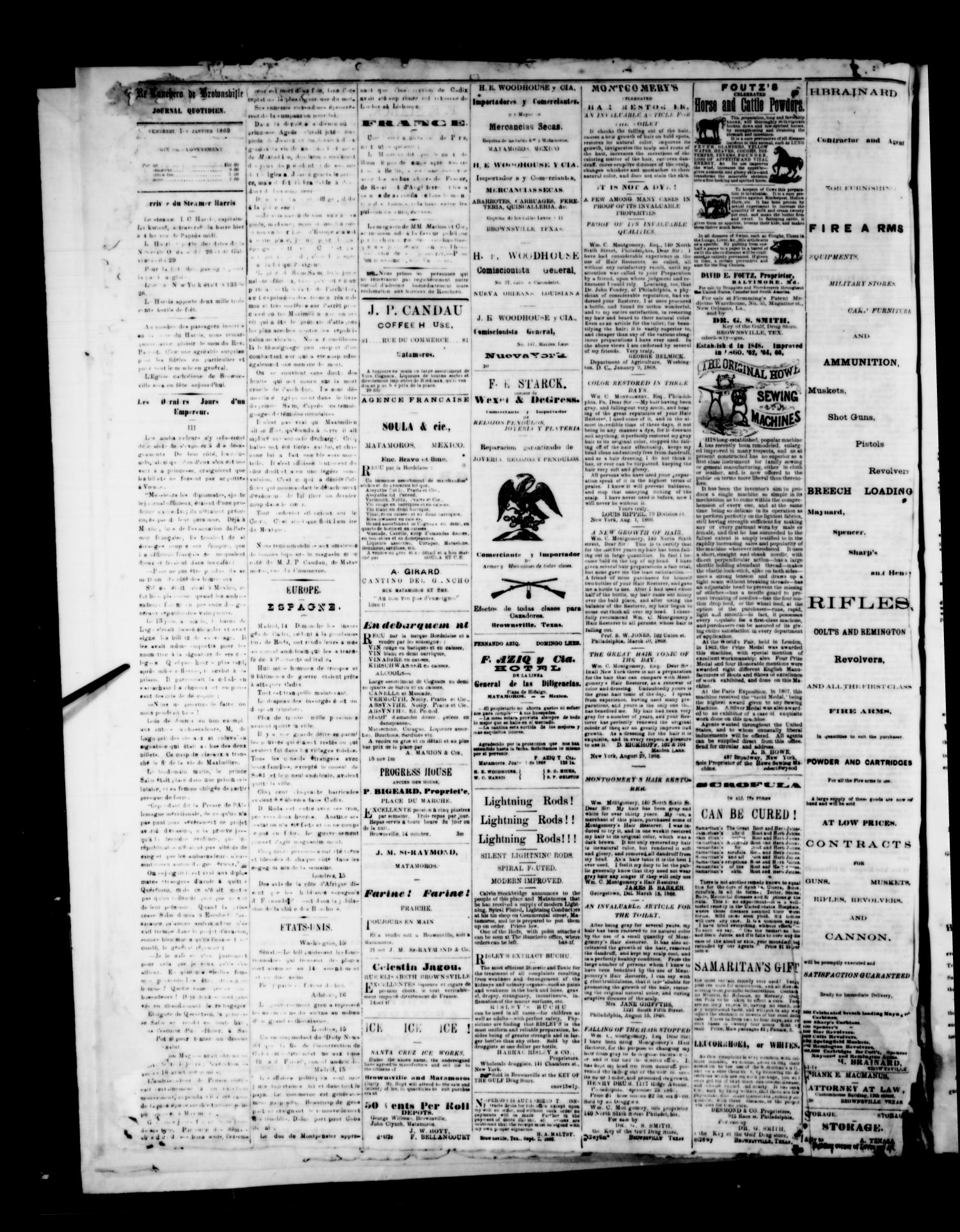The Brownsville Ranchero. (Brownsville, Tex.), Vol. 3, No. [270], Ed. 1 Friday, January 1, 1869                                                                                                      [Sequence #]: 4 of 4