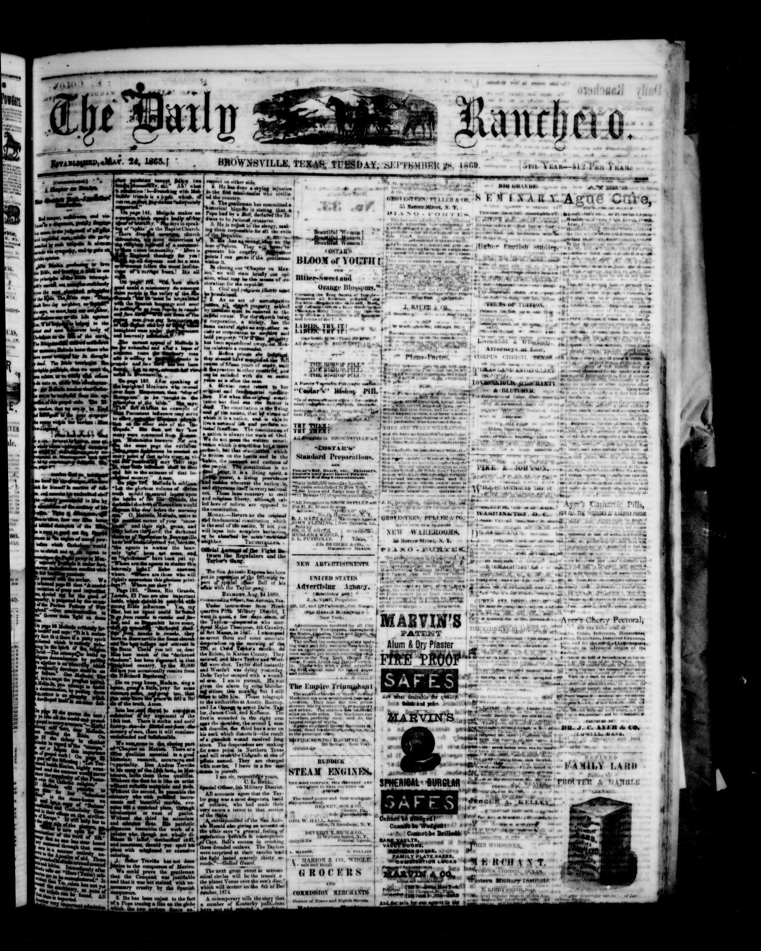 The Daily Ranchero. (Brownsville, Tex.), Vol. 5, Ed. 1 Tuesday, September 28, 1869                                                                                                      [Sequence #]: 1 of 4