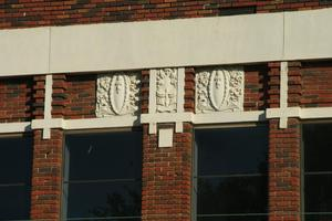Primary view of object titled '[Carving Detail on Building]'.