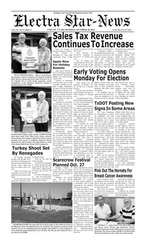 Primary view of object titled 'Electra Star-News (Electra, Tex.), Vol. 106, No. 10, Ed. 1 Thursday, October 18, 2012'.