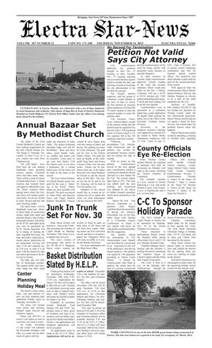 Primary view of object titled 'Electra Star-News (Electra, Tex.), Vol. 107, No. 12, Ed. 1 Thursday, November 14, 2013'.