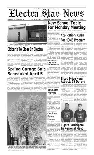 Primary view of object titled 'Electra Star-News (Electra, Tex.), Vol. 107, No. 28, Ed. 1 Thursday, March 20, 2014'.