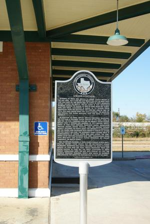 Primary view of object titled 'Union Station THC Marker in Paris, Texas'.