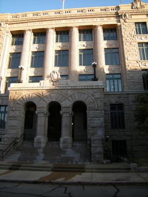 Primary view of object titled '[Front of Courthouse]'.