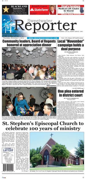 Sweetwater Reporter (Sweetwater, Tex.), Vol. 114, No. 247, Ed. 1 Thursday, November 1, 2012