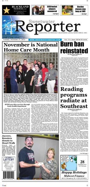 Sweetwater Reporter (Sweetwater, Tex.), Vol. 114, No. 269, Ed. 1 Tuesday, November 27, 2012