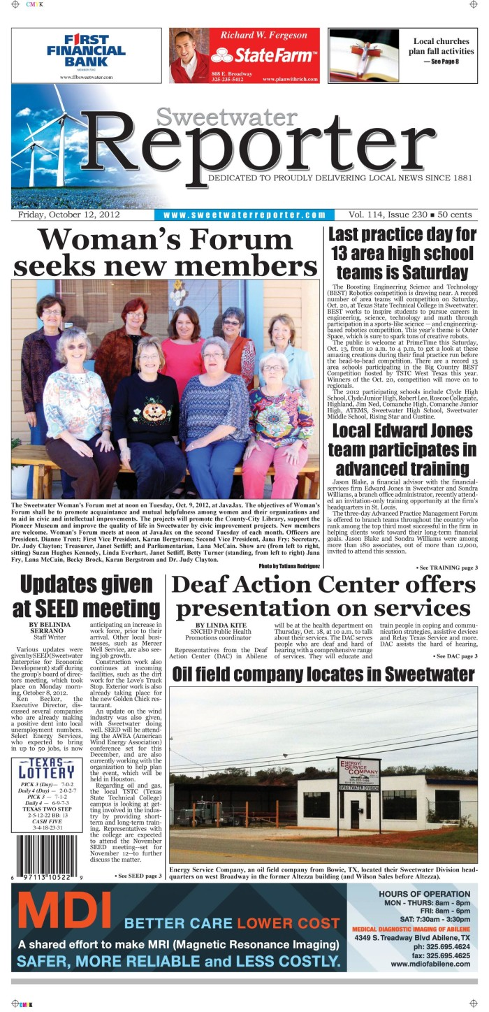 Sweetwater Reporter (Sweetwater, Tex ), Vol  114, No  230